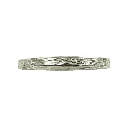 Antique Style 2mm Floral Blossom Pattern Wedding Band | Stacking Band | Sterling Silver