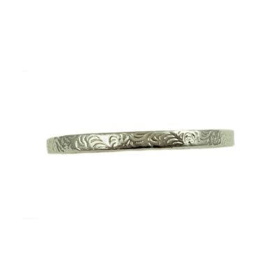 Antique Style 2mm Scroll Pattern Wedding Band | Stacking Band | Sterling Silver