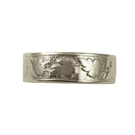 Victorian Style 6mm Oak Leaf Pattern Cigar Band | Stacking Band | Sterling Silver