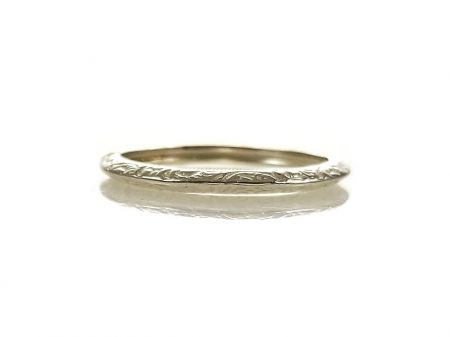 Antique Style 2mm Foliate Pattern Wedding Band | Stacking Band | Sterling Silver