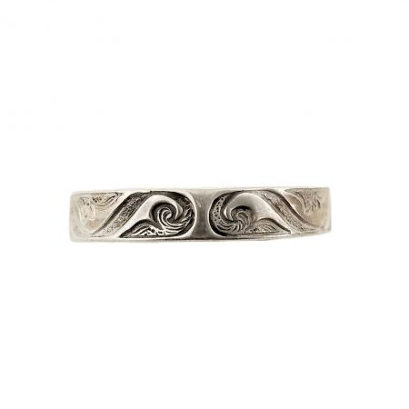 Antique Style 4mm Scrolling Wave Patterned Band | Stacking Band | Sterling Silver