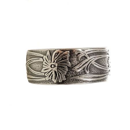 Art Nouveau Vine and Floral Pattern 8mm Band | Unisex Ring | Sterling Silver