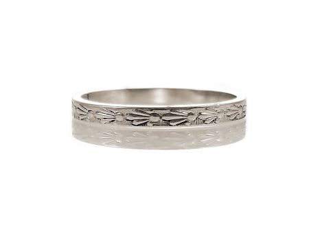 Antique Style 2.0mm Spray Patterned Wedding Band | Midi Band | Sterling Silver
