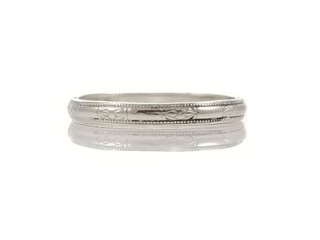 Art Deco Style 2.2mm Flower Patterned Midi Band | Stacking Band | Sterling Silver