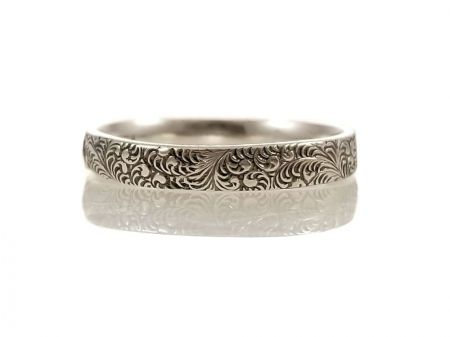 Antique Style 3.5mm Foliate Patterned Wedding Band | Stacking Band | Sterling Silver