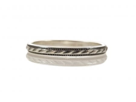 Vintage Style 2mm Rope Patterned Wedding Band | Stacking Band | Sterling Silver