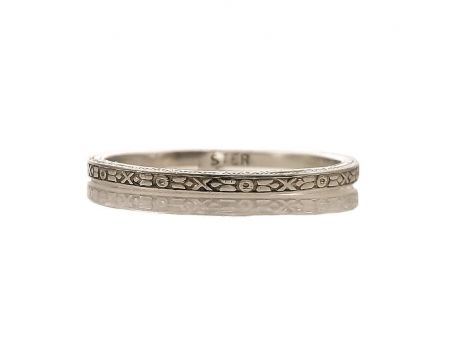 Art Deco Style 1.5mm X and O Pattern Wedding Band | Midi Ring | Sterling Silver