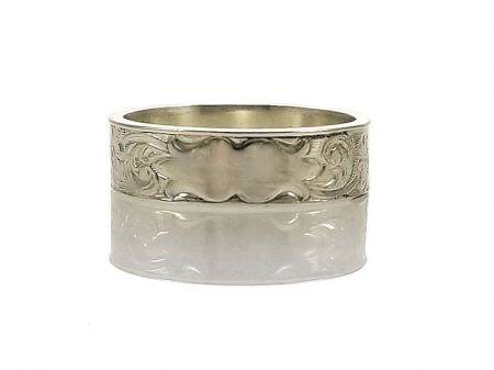 Antique Style 5.5mm Flower Patterned Engravable Band | Signet Band | Sterling Silver