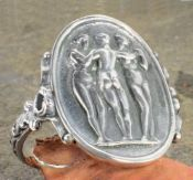 Antique Style Sterling Silver The Three Graces Ring