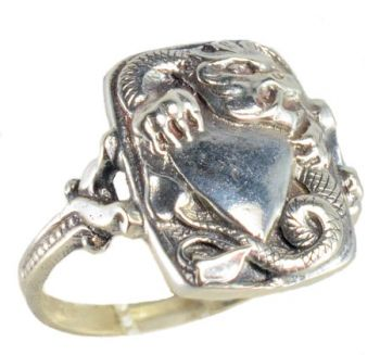 Victorian Style Sterling Silver Shielded Dragon Whimsy Ring