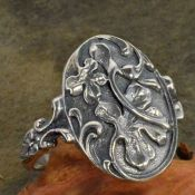 Art Nouveau Style Sterling Silver Hibiscis Flower Whimsy Ring