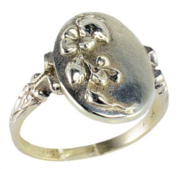 Victorian Style Sterling Silver Oval Shamrock Clover Whimsy Ring