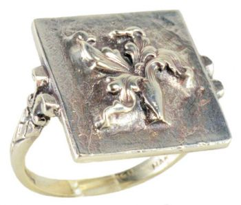Victorian Style Sterling Silver Large Iris Whimsy Ring