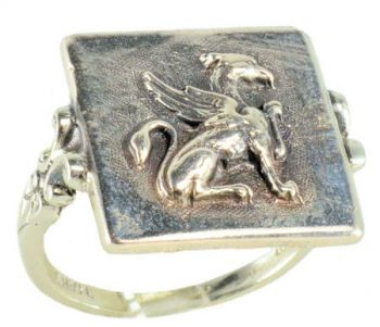 Victorian Style Sterling Silver Large Griffin Whimsy Ring