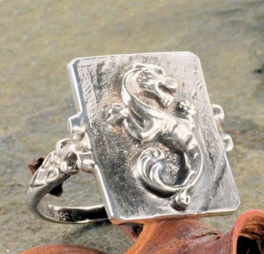 Victorian Style Sterling Silver Mythical Wingless Dragon Whimsy Ring