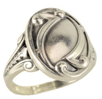 Art Nouveau Style Sterling Silver Unisex Whimsy Ring