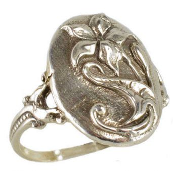 Art Nouveau Style Sterling Silver Flower Whimsy Ring
