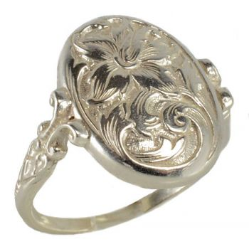 Victorian Style Sterling Silver Engraved Floral Whimsy Ring