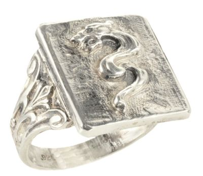 Gents Victorian Style Sterling Silver Sea Serpent Whimsy Ring