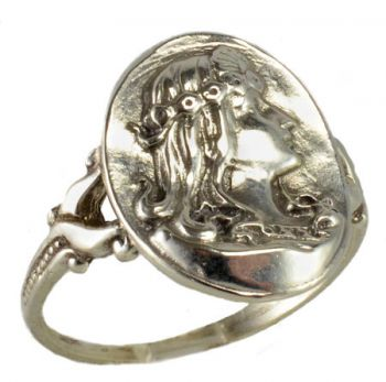 Egyptian Revival Sterling Silver Woman with Headdress Whimsy Ring