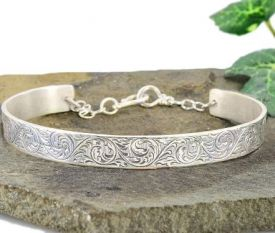Antique Style Sterling Silver English Scroll Engraved Cuff Bracelet