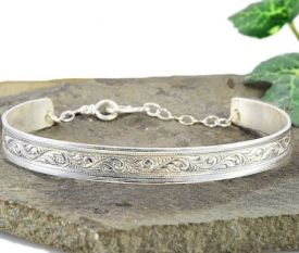 Antique Style Engraved Foliate Cuff Bracelet in Sterling Silver