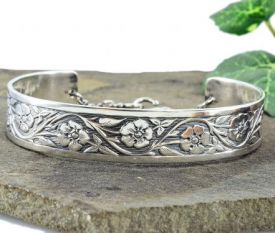 Antique Style Forget Me Not Flower Cuff Bracelet in Sterling Silver