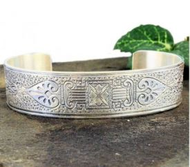 Antique Style Sterling Silver Engraved Cuff Bracelet