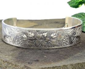 Antique Style Sterling Silver Floral Engraved Cuff Bracelet