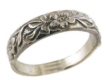 Antique Style Sterling Silver Forget-Me-Not Flower Ring / Cigar Band