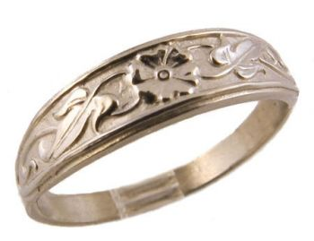 Art Nouveau Style Sterling Silver Flower & Foliate Ring / Cigar Band
