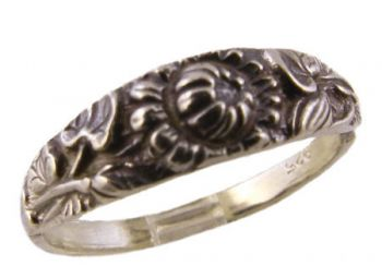 Art Nouveau Sterling Silver Sun Flower Flower Ring / Cigar Band