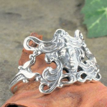 Art Nouveau Style Sterling Silver Female with Flowing Hair Ring