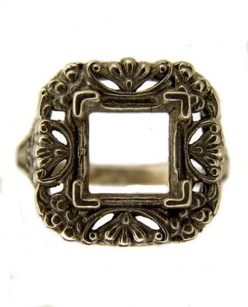 Antique Style Sterling Silver Filigree 7.5x7.5mm Square Ring Setting