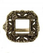 Antique Style Filigree 7.5x7.5mm Square Ring Setting