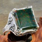 Antique Style Sterling Silver Filigree 12x10mm Emerald Shaped Ring Setting