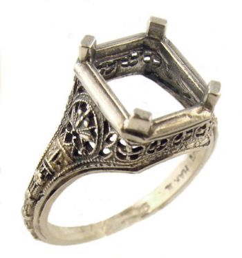 Antique Style Filigree 10x8mm Emerald Shaped Ring Setting