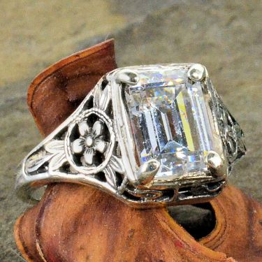Antique Style Sterling Silver Filigree 8x6mm Emerald Cut Forget Me Not Flower Ring Setting