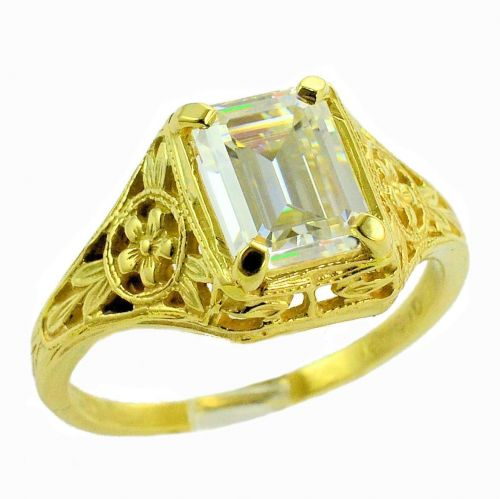 Antique Style Filigree 8x6mm Emerald Cut Forget Me Not Flower Ring Setting