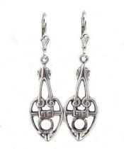 Arts and Crafts Style Sterling Silver Filigree Earring Settings - 4.5mm Round Stones