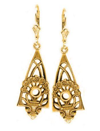Art Deco Style Filigree Jardini�re Earring Settings - 2.5mm Round Stones
