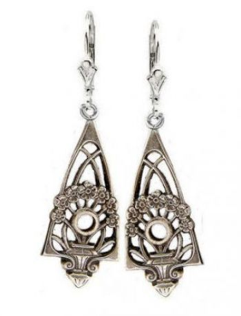 Art Deco Style Sterling Silver Filigree Jardini�re Earring Settings - 2.5mm Round Stones