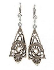 Art Deco Style Sterling Silver Filigree Jardinière Earring Settings - 2.5mm Round Stones