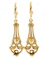 Art Nouveau Style Filigree Earring Settings - 4.0mm Round Stones