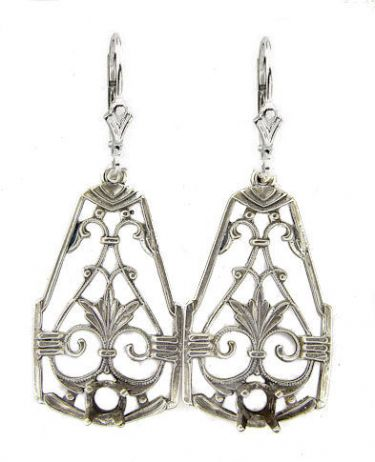 Antique Style Sterling Silver Filigree Earring Settings - 4.0mm Round Stones