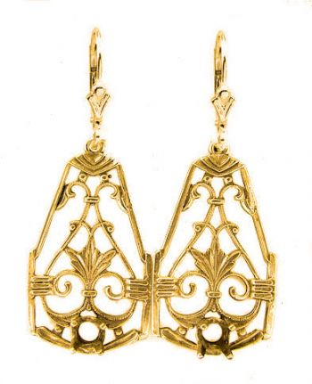 Antique Style Filigree Earring Settings - 4.0mm Round Stones