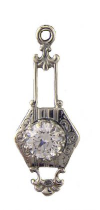 Art Deco Style Sterling Silver 5.0mm Round Shaped Pendant Setting