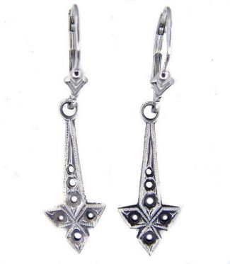 Art Deco Style Sterling Silver Filigree Earring Settings - 1.0mm to 2.5mm Round Stones