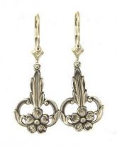 Art Nouveau Style Sterling Silver Forget Me Not Dangle Earrings