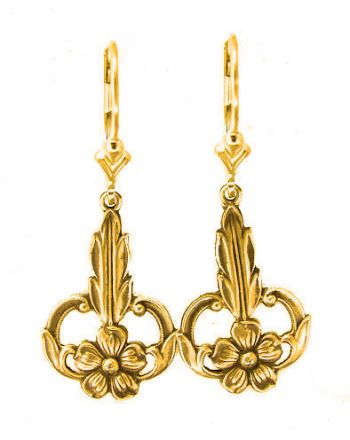 Art Nouveau Style Forget me Not Flower Dangle Earrings